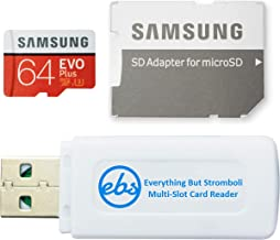 Samsung 64GB Evo Plus Class 10 MicroSDXC Memory Card Works with BLU Cell Phone Advance A4, Studio Mini, Vivo XL4 (MB-MC64G) Bundle with (1) Everything But Stromboli Micro Card Reader