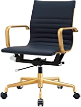 MEELANO -N Office Chair, One Size, Gold/Navy Blue