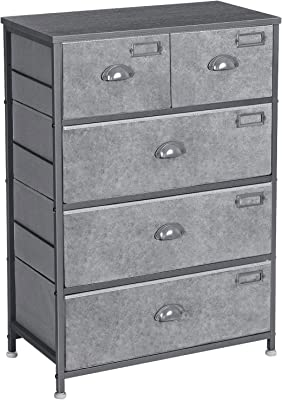 SONGMICS Fabric Drawer Dresser, 5-Drawer Storage Dresser Tower, Wooden Top, with Labels, Industrial Style Dresser Unit, for Living Room, Hallway, Nursery, Silver Gray and Gray ULVT45G
