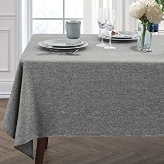 JUCFHY Rectangle Table Cloth, Linen Farmhouse Tablecloth Heavy Duty Fabric,Stain-Proof,Water Resistant Washable Table Cloths,Decorative Oblong Table Cover for Kitchen and Holiday(52x70 Inch,Charcoal)