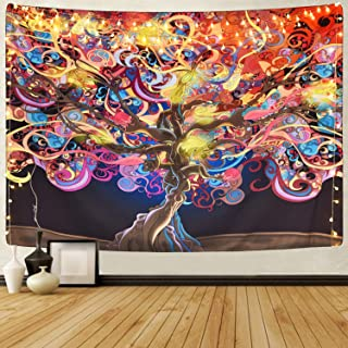 Sevenstars Magical Tree Tapestry Glowing Colorful Tree Tapestry Mysterious Fantasy Tree Tapestry Tree of Life Tapestry Bohemian Tapestry for Room