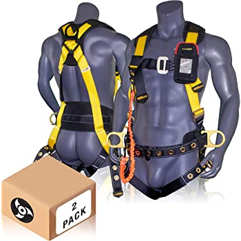 TB Legs//QC Chest Medium Yellow//Black 6-Inch Waist Pad and Padded Work Seat Sling FallTech 7042M TowerClimber Full Body Harness with 6 D-Rings