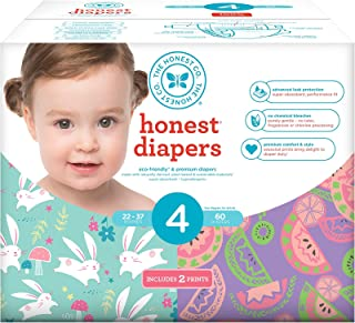 Honest Baby Diapers, Club Box, Bunnies & Sliced Fruit, Size 4, 60 Count