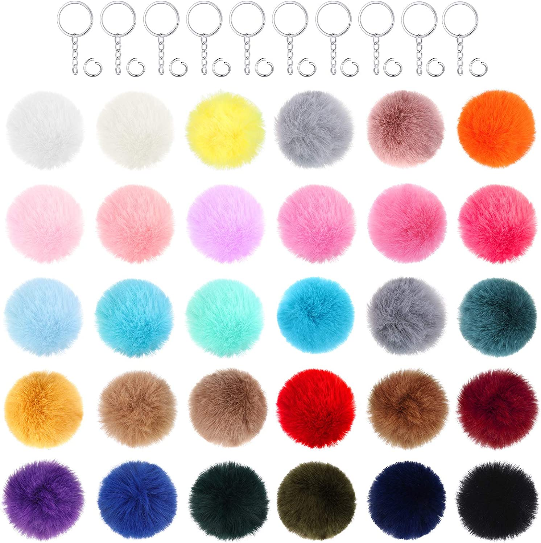 Ranking TOP15 240 Pieces Pompom Keychain DIY Faux Set 60 Choice Fur Including