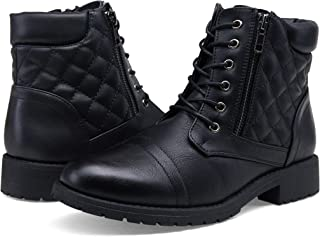 Women's Fashion Ankle Boots Winter Lace up Zipper Work Low Heel Combat Bootie for Women