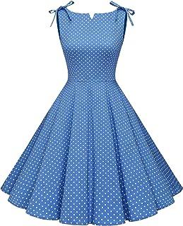 MuaDress 1958 Vestiti retrò Rockabilly Polka Abito da Cocktail Vestito Casual da Audrey Swing Senza Maniche
