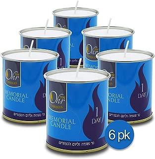 Ohr 1 Day Yahrzeit Candle - 6 Pack - 24 Hour Kosher Yahrtzeit Memorial and Yom Kippur Candle in Tin Cup Holder