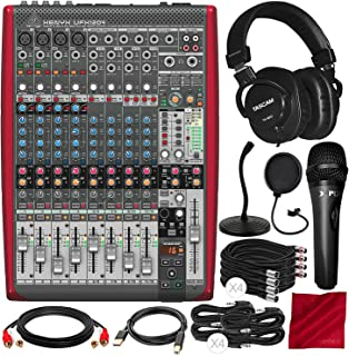 Behringer XENYX UFX1204 Premium 12-Input 4-Bus Mixer with Tascam Mixing Headphones, Xpix Microphone, and Assorted Cables Deluxe Bundle