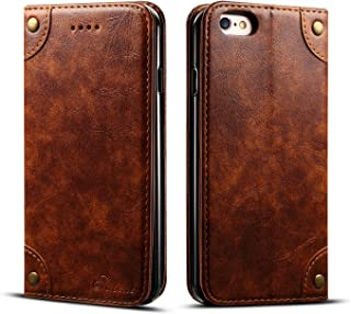 Wallet Case for iPhone 6/6s Leather,Khaki Retro Texture Folio Card Holder Cover Kickstand Protective Durable Men Boy Gift Shell