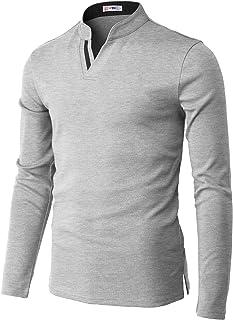 H2H قميص بولو كاجوال للرجال ضيق خفيف الوزن طويل الأكمام تصميم أساسي