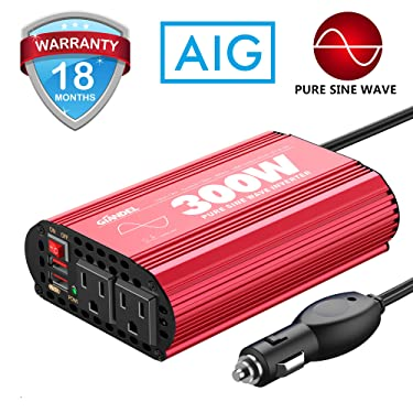300Watt Pure Sine Wave Power Inverter DC 12volt to AC 120volt Car Converter Adapter with Dual USB Ports for Smartphones Laptops Tablets CPAP