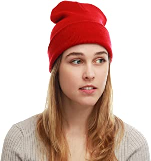 The Hat Depot Cuff Beanie Cap/Made in USA Knit Skull Long Beanie Plain Ski Hat