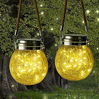 [2 Pezzi] Qedertek Lanterne da esterno Solari, Lanterna Solare di vetro con 30 LED, Luci Solari Impermeabile IP65, Luci De...