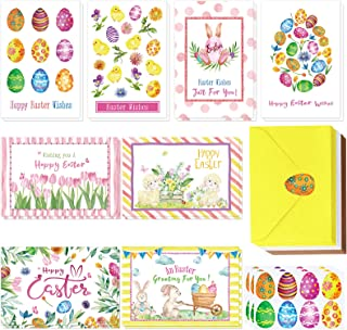 Winlyn 120 Sets Easter Cards with Envelopes Stickers Assortment 8 Designs of Watercolor Easter Egg Tulip Bunny Sheep Chick...