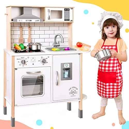 popular Play-Kitchen-for-Kids with 18 Pcs Toy Food & Cookware Accessories Playset Wooden Chef 2021 Pretend Play Set for Toddlers with Real outlet sale Lights & Sounds outlet online sale
