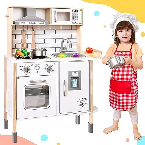 Tiny Land CocinaJuguete para niños con 18 Accesorios de Comida y Utensilios de Cocina de Juguete Juego de Juego de C...