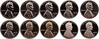 1970 S - 1979 Lincoln Memorial Gem Proof Cents - 10 Coins - Complete Decade GEM