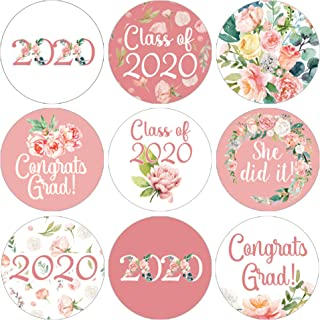 Pink Floral Class of 2020 Graduation Party Favor Labels - 180 Stickers