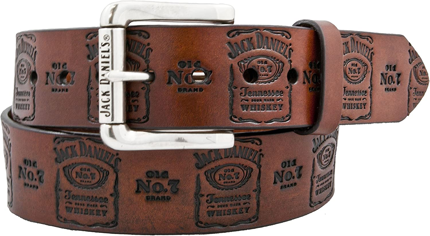 Jack Daniel's Brown Embossed Logo Leather Belt