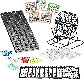 Bingo Lotto Numbers Juego de máquina hecho de metal, 75 cuencos, 500 tarjetas de bingo, 150 fichas de bingo incluidas.