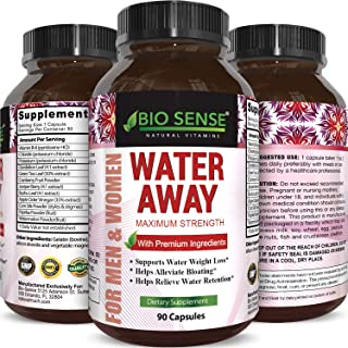 Bio Sense Water Away Supplement for Water Retention Relief - Natural Diuretic Pills for Men and Women Reduce Bloating Swelling for Weight Loss Pure Dandelion Green Tea Leaf 90 Capsules