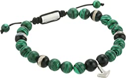 Steve Madden Malachite Bead with Anchor Charm Bracelet