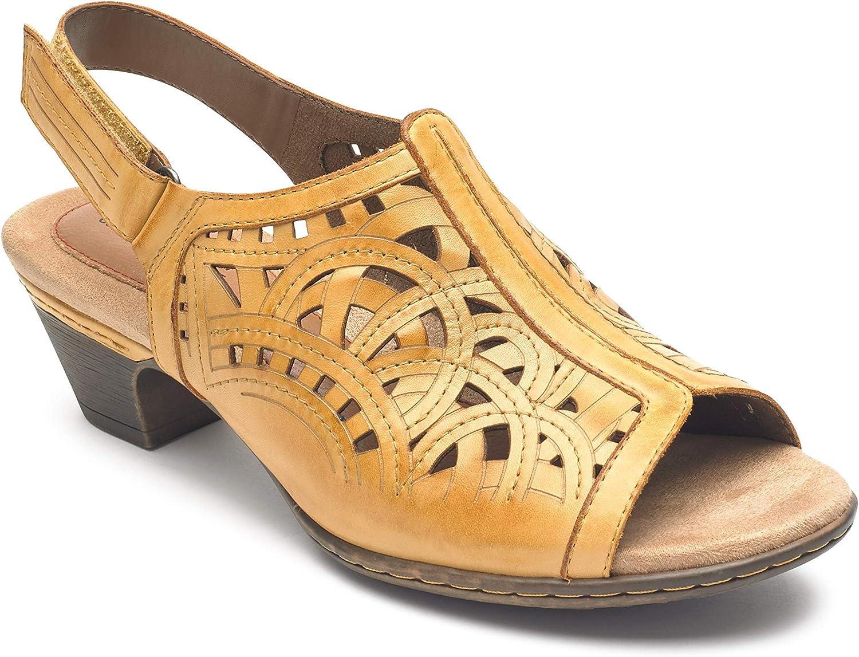 Cobb Hill Women& 39;s Abbott HI Vamp Sling Sandal, Yellow Leather, 085 M US