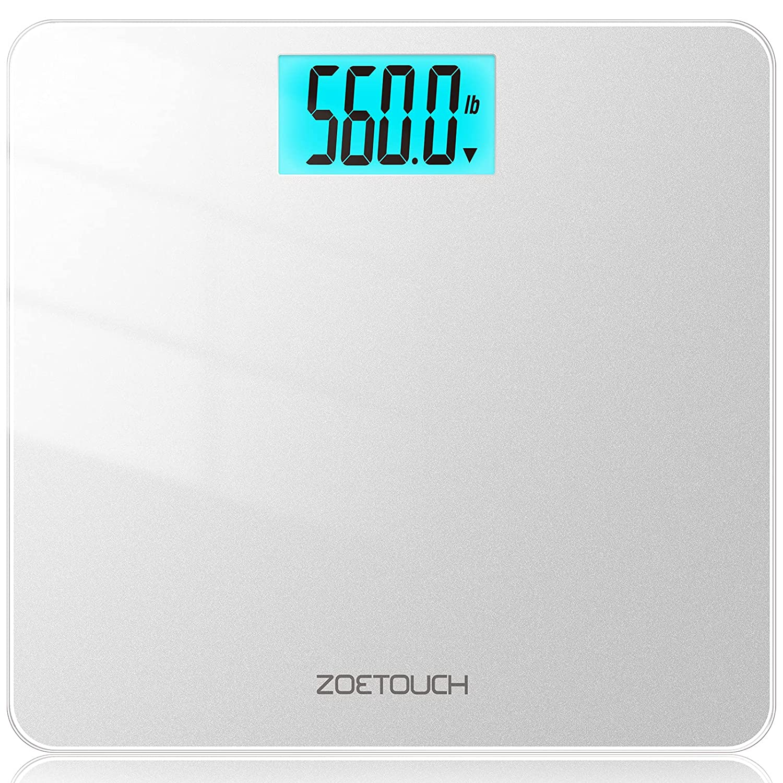 ZOETOUCH Balanza Peso Corporal, 255kg Vasculas de Peso, Bascula de Baño digital el LCD Pantalla, Bascula inteligente cor 4 Baterías, 3 tipos de unidades lb/kg/st - plata