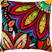 Asters European Quality Needlepoint Kit Throw Pillow 16/×16 Inches Printed Tapestry Canvas