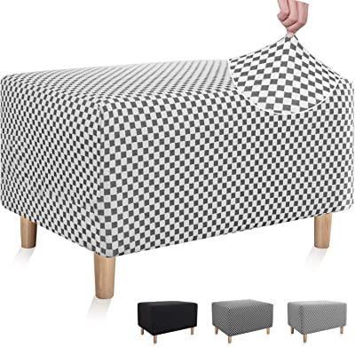 Chelzen Stretch Ottoman Slipcover Double-Color Linen-Like Square Rectangle Storage Ottoman Cover for Living Room Foot Rest Stool Slip Cover with Elastic Bottom (Small, Black and White Checkered)