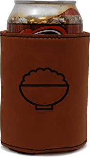 MODERN GOODS SHOP Leather Can Cooler With Fluffy Rice Engraving - Oil, Stain, and Water Resistant Beer Hugger - Standard Size Beer and Soda Can Sleeve