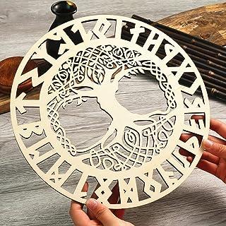 Simurg 11.5'' Celtic Tree of Life Wall Art Nordic Viking Runes Amulet Wall..