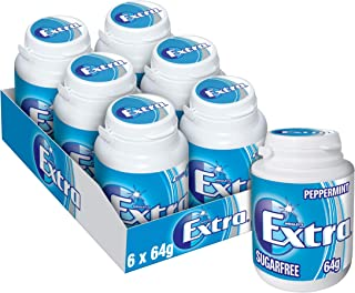 Extra Peppermint Chewing Gum Bottle 64g (Pack of 6)