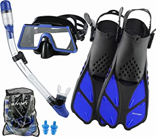 DiVLMT Mask Fin Snorkel Set for Adult, Adult Snorkeling Gear with Fins Wide View Snorkel Fin Set Scuba Mask with Flippers ...