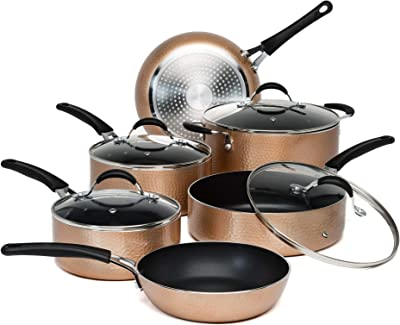 Ecolution Impressions Cookware Set, Frying Pots and Pans with Premium Multilayered Non-Stick, Dishwasher Safe, Riveted Stainless Steel Handles, Glass Vented Lid, 10 Piece, Copper