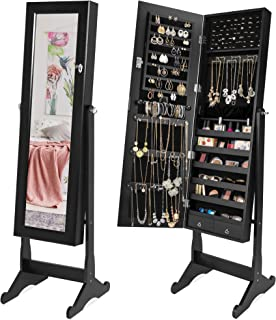 Best Choice Products Full Length Tilting Mirrored Cabinet Jewelry Armoire with Velvet Lined Interior, 6 Shelves, Stand Rings, Necklaces Hooks, Bracelet Rod, Cubbies, Lock and Key, Black