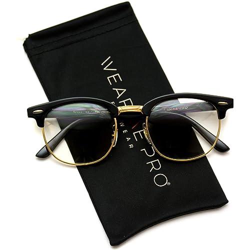 bf1e07a2f86 Vintage Inspired Classic Half Frame Horn Rimmed Clear Lens Glasses