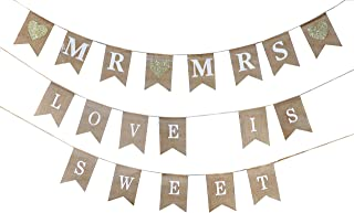 Mandala Crafts Mr and Mrs Burlap Banner, Love is Sweet Pendant Flags for Shower, Wedding, Engagement Party Decoration, Country and Rustic Fabric Pennant Bunting String