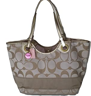 Coach Sateen Signature Stripe Beach Tote Bag 19565 Light Khaki Gold