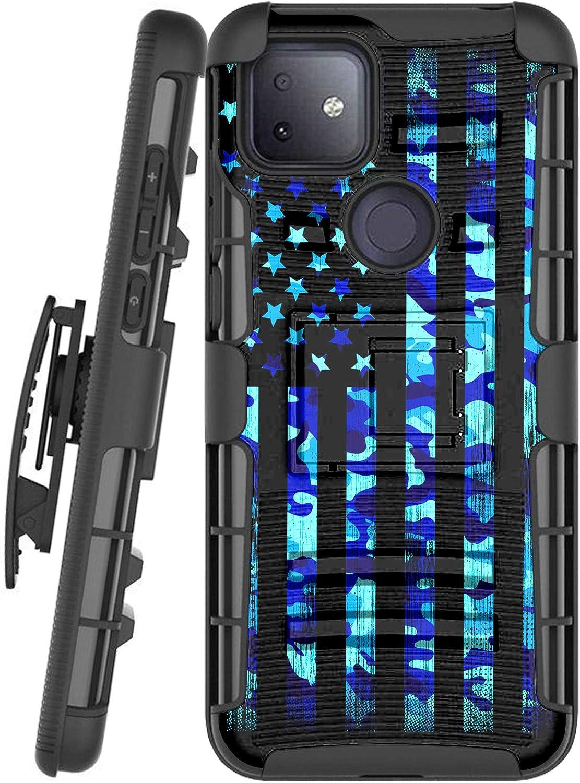DALUX Hybrid Kickstand Holster Phone Case Compatible with T-Mobile REVVL 4 Plus/REVVL 4+ (2020) - Blue Camo US Flag