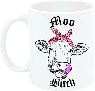Funny Cow Coffee Cup Moo B by InkPonyArt 11 ounce Sublimated Ceramic mug