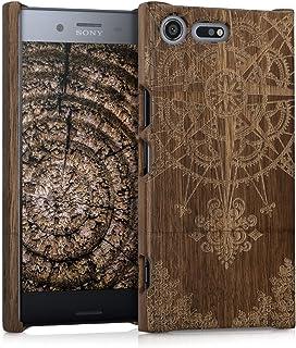 kwmobile Funda para Sony Xperia XZ Premium - Carcasa de [Madera] para móvil - Case Trasero [Duro] con diseño de Rosa de los Vientos