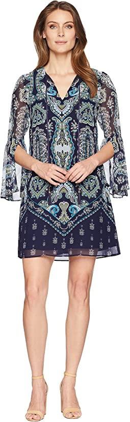 Printed Chiffon V-Neck Dress with Tassels