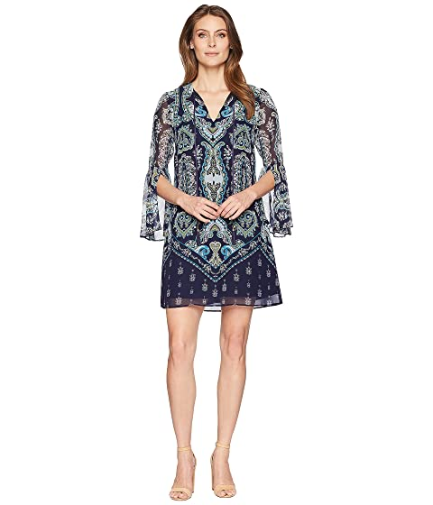 Professional Online Vince Camuto Printed Chiffon V-Neck Dress with Tassels Navy Multi Clearance Original G48dy