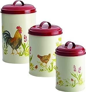 Paula Deen 46595 Pantryware Food Storage Container Set / Food Storage Jar Set - 3 Piece, Garden Rooster