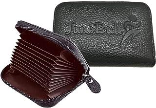 JunoBull RFID Blocking Genuine Leather Mens Credit Card, ATM, Debit Cards Holder Wallet case- Holders Wallets for Men & Women - Black