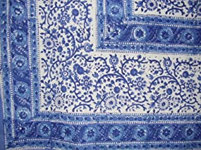 Homestead Rajasthan Block Print Cotton Tablecloth 90 x 60 Blue