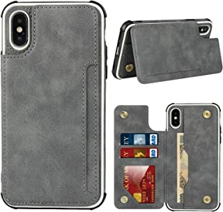 Frolan for iPhone Xs Max,Luxury PU Leather Case with [Card Slots] Stand Function Durable Shockproof Soft TPU Case Back Wal...