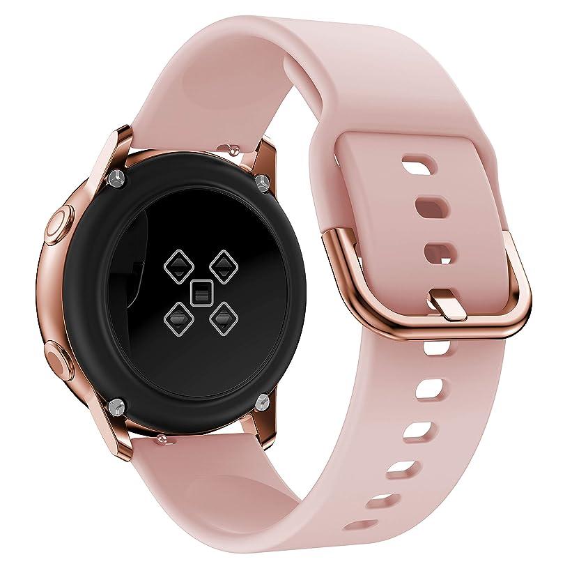 蒸気推進、動かす差し控えるMotivaJP Samsung Galaxy Active スマートウォッチバンド シリコン 腕時計ストラップ 交換ベルト (ピンク)