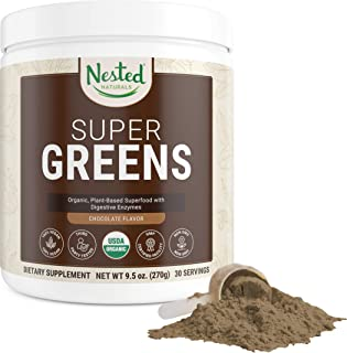 Nested Natural Super Greens Chocolate – Green Vegetable Superfood Powder 100% USDA Organic Non-GMO Vegan Supplement 20+ In...